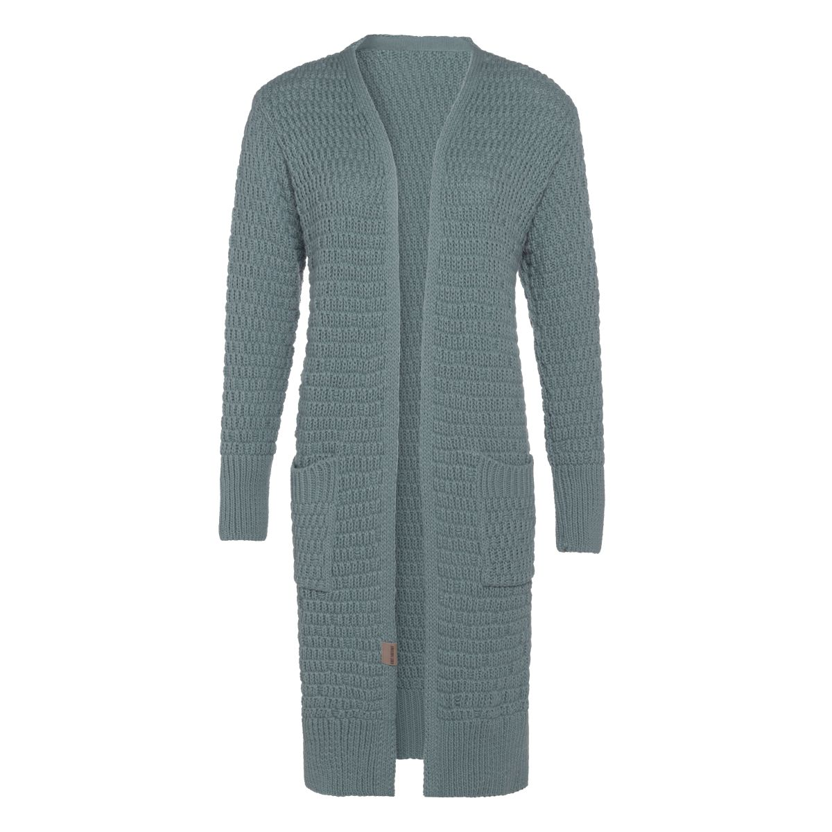 jaida long knitted cardigan stone green 4042 with side pockets