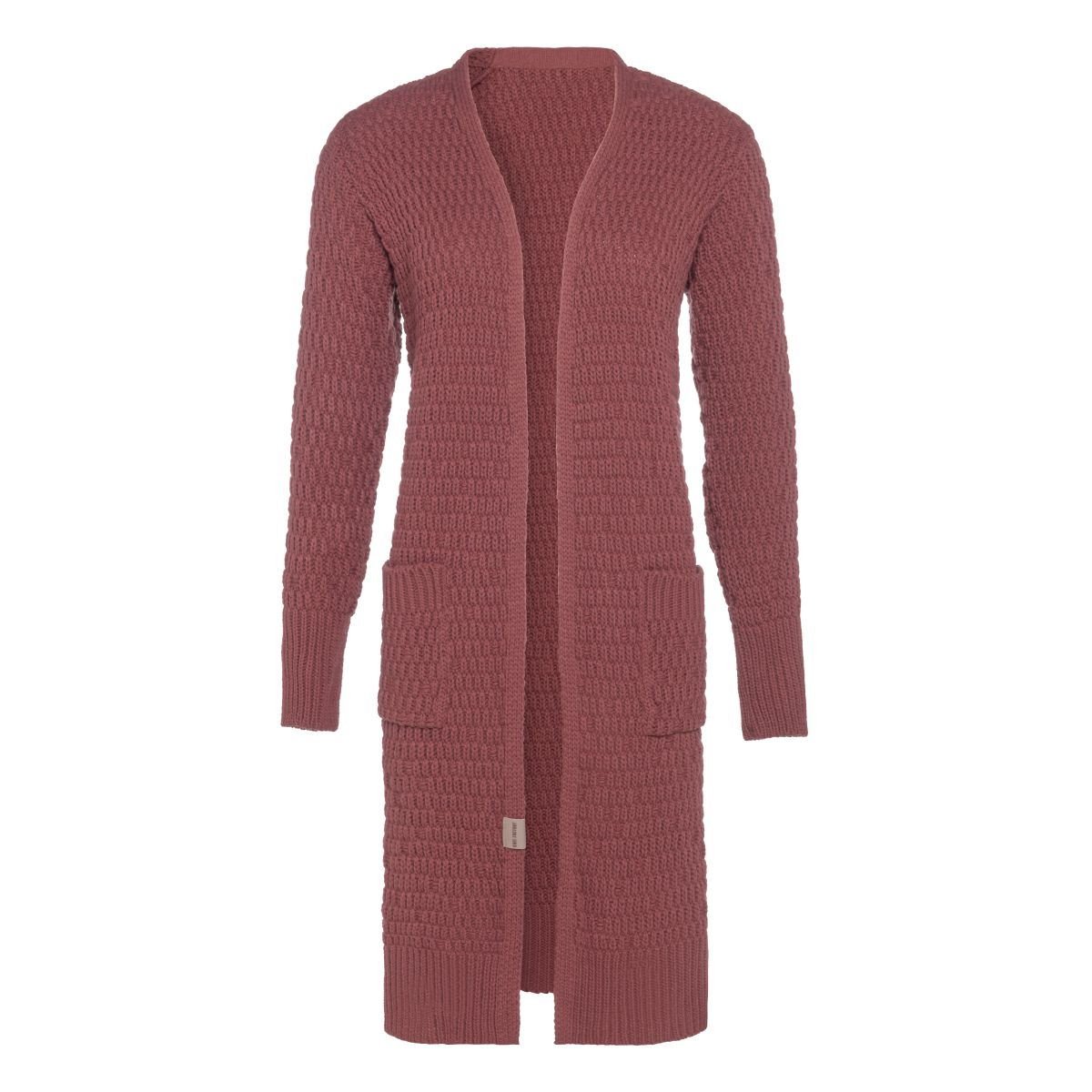 jaida long knitted cardigan stone red 4042 with side pockets