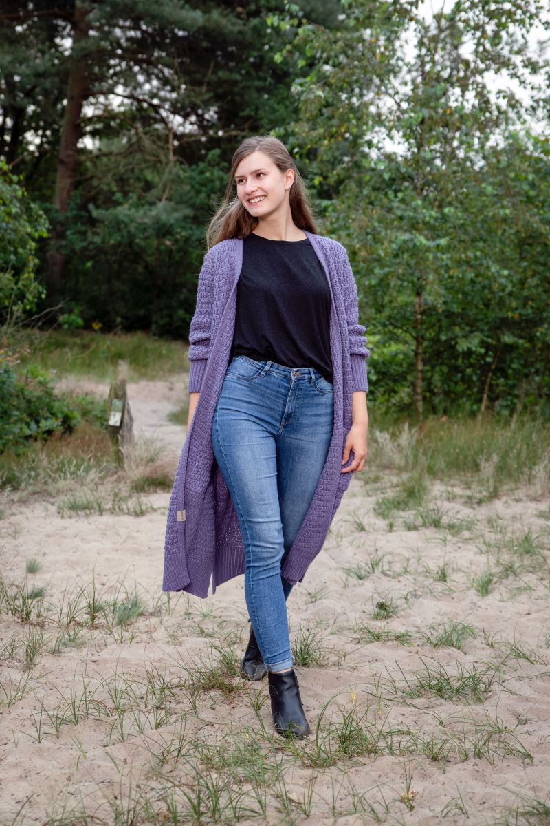 jaida long knitted cardigan violet 3638 with side pockets