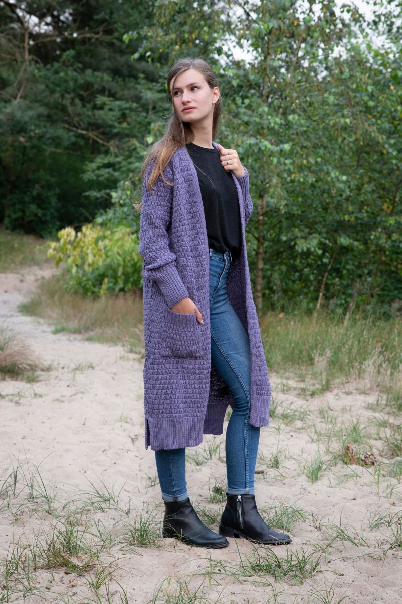 jaida long knitted cardigan violet 4042 with side pockets