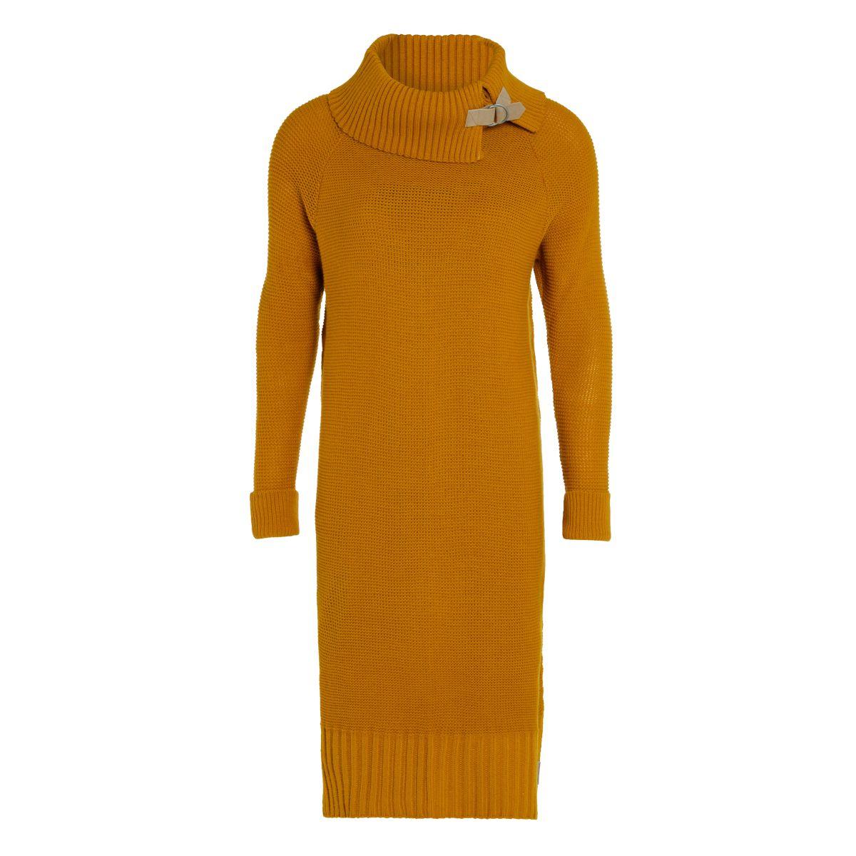 jamie gebreide jurk oker 4042