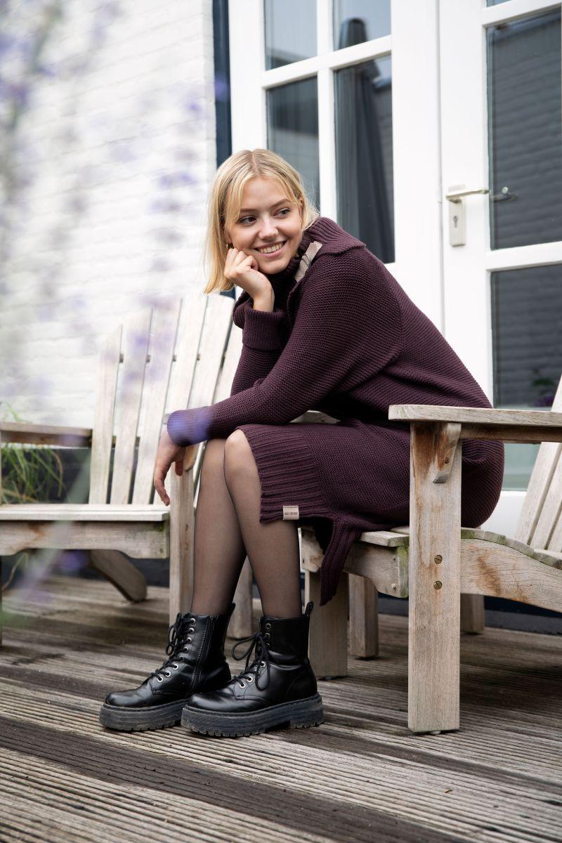 jamie knitted dress aubergine 3638