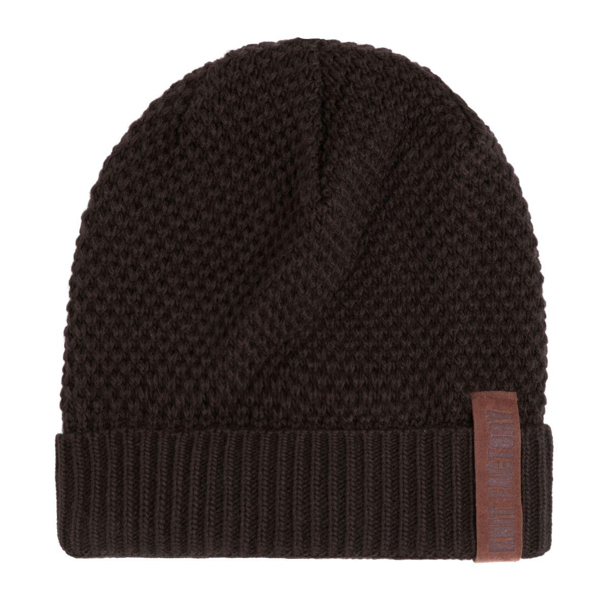 knit factory kf12307003750 jazz muts donkerbruin 1