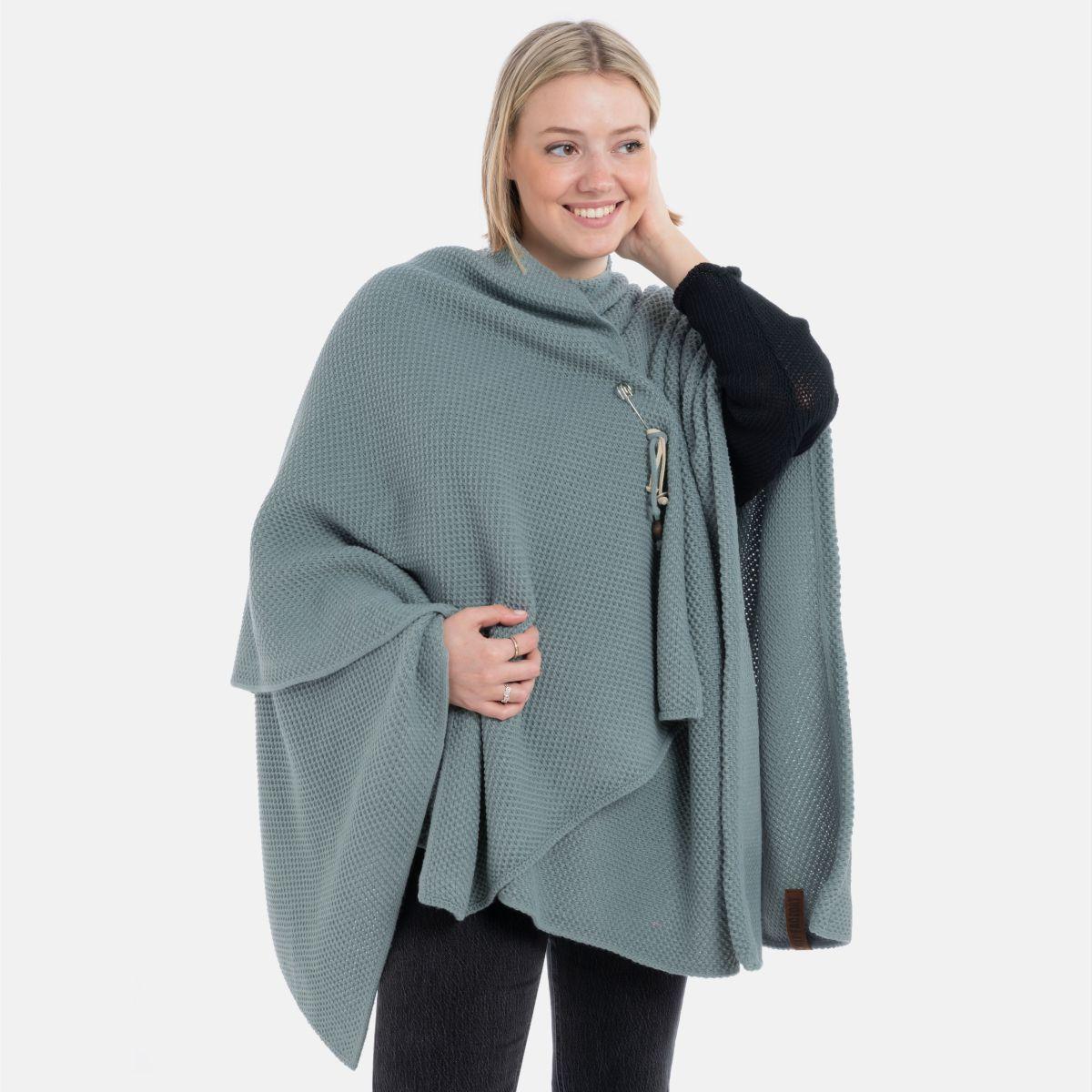 knit factory 1236109 jazz omslagvest stone green 2