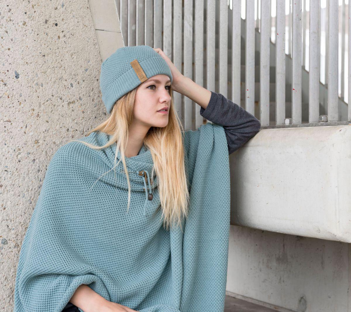 knit factory 1236109 jazz omslagvest stone green 4
