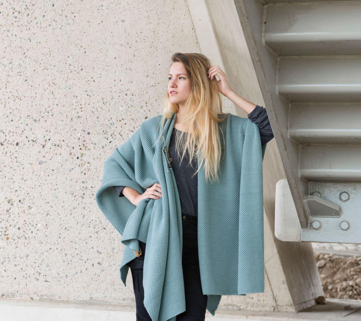 knit factory 1236109 jazz omslagvest stone green 5
