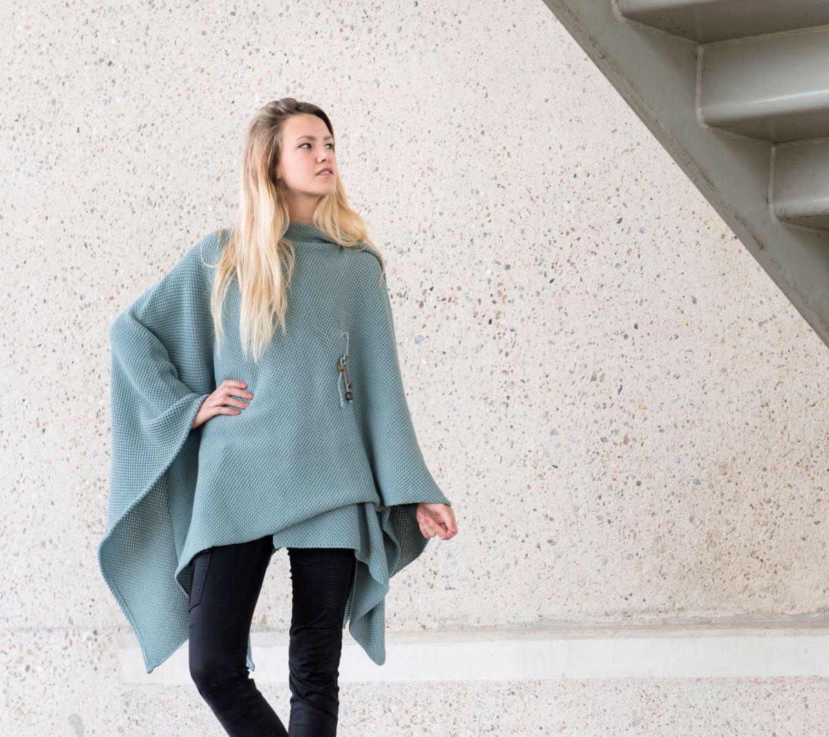 knit factory 1236109 jazz omslagvest stone green 6