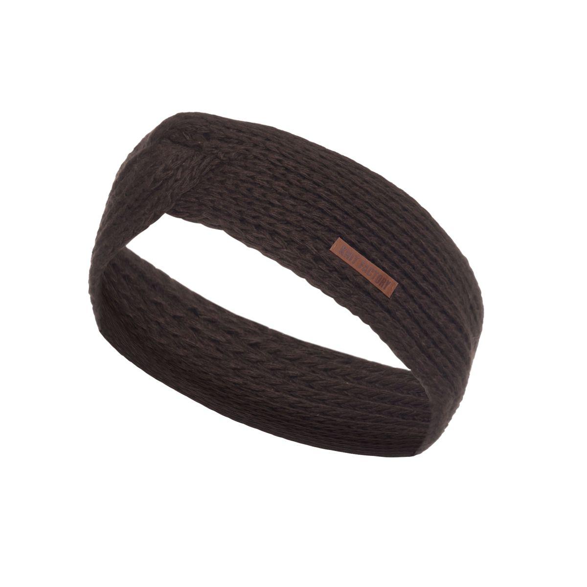 knit factory kf13706903750 joy hoofdband donkerbruin 1