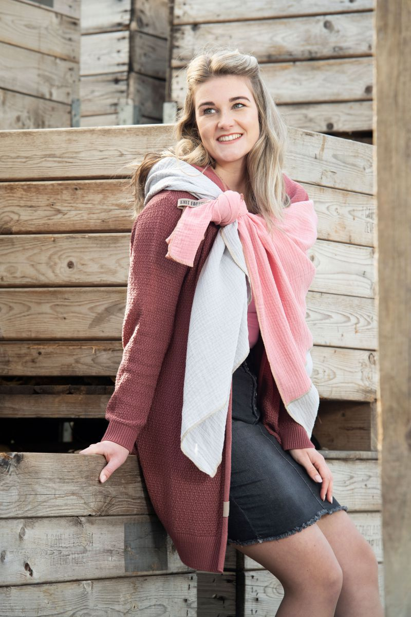 june knitted cardigan light grey 3638