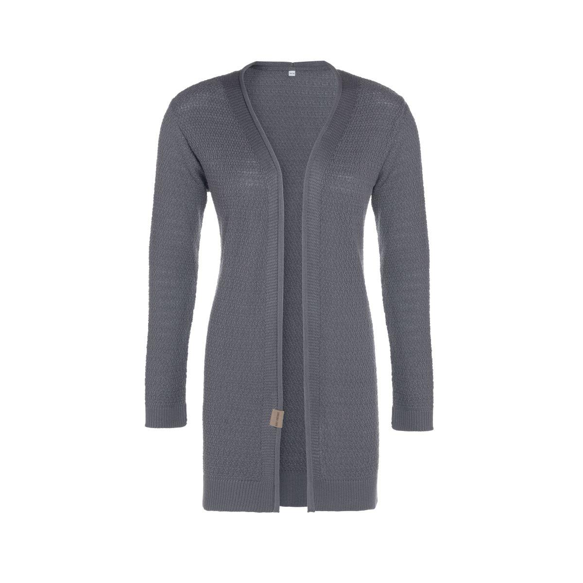 june knitted cardigan med grey 4042