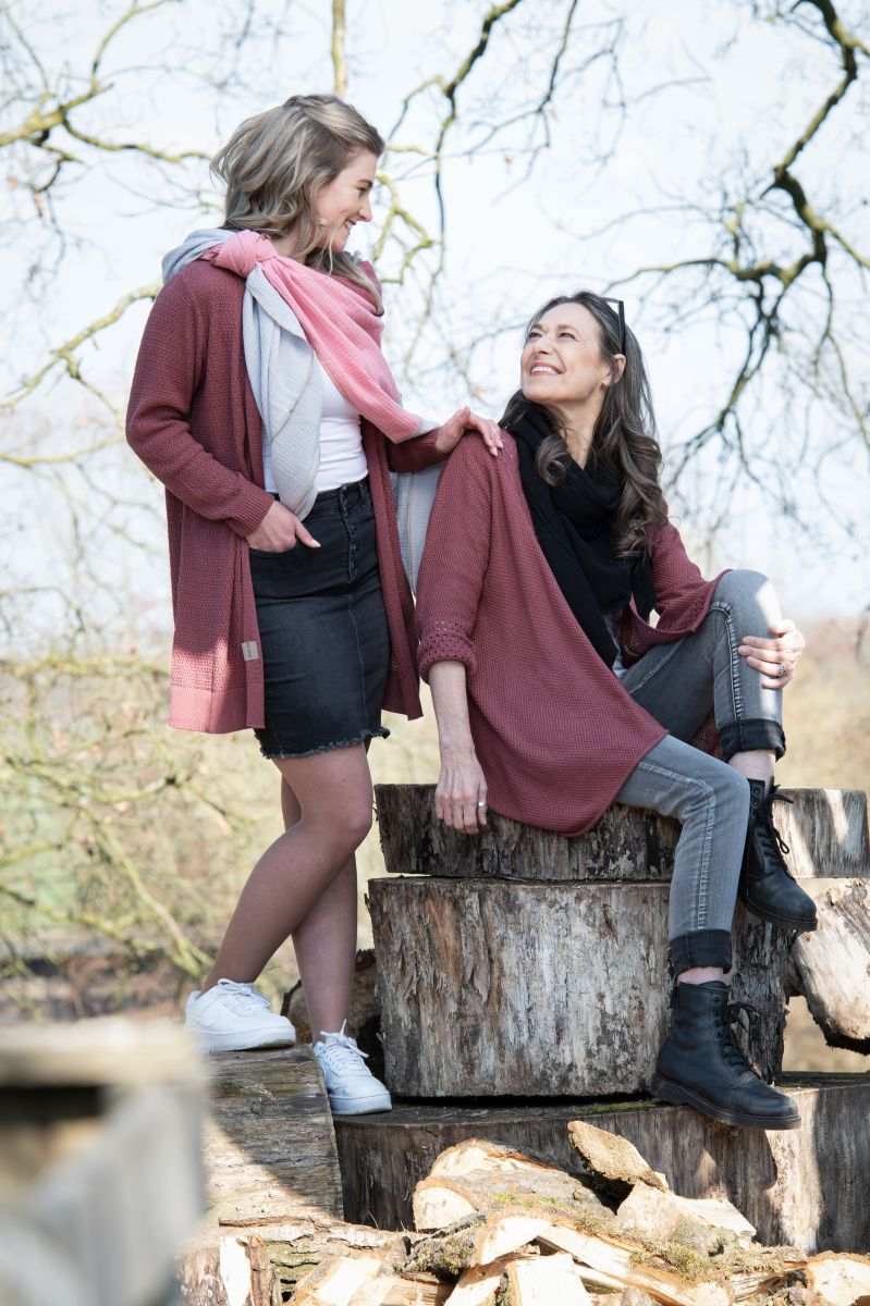 june knitted cardigan stone red 4042