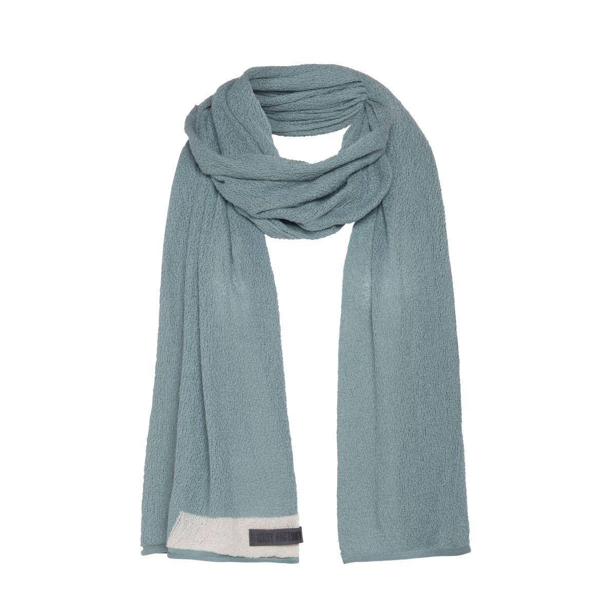knit factory kf141065009 june sjaal stone green 1