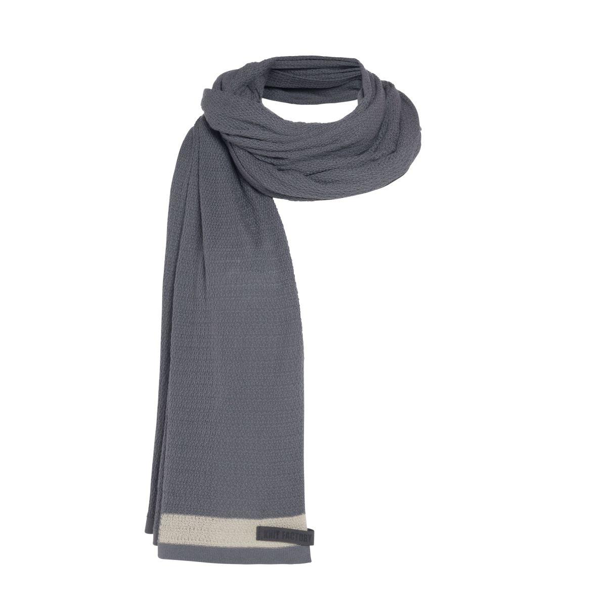 knit factory kf141065009 june sjaal stone green 4