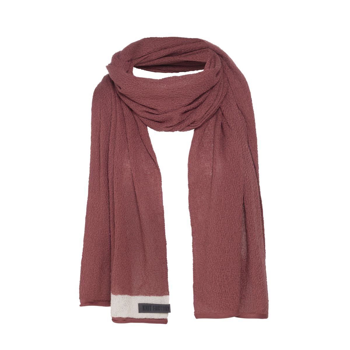 knit factory kf141065038 june sjaal stone red 1
