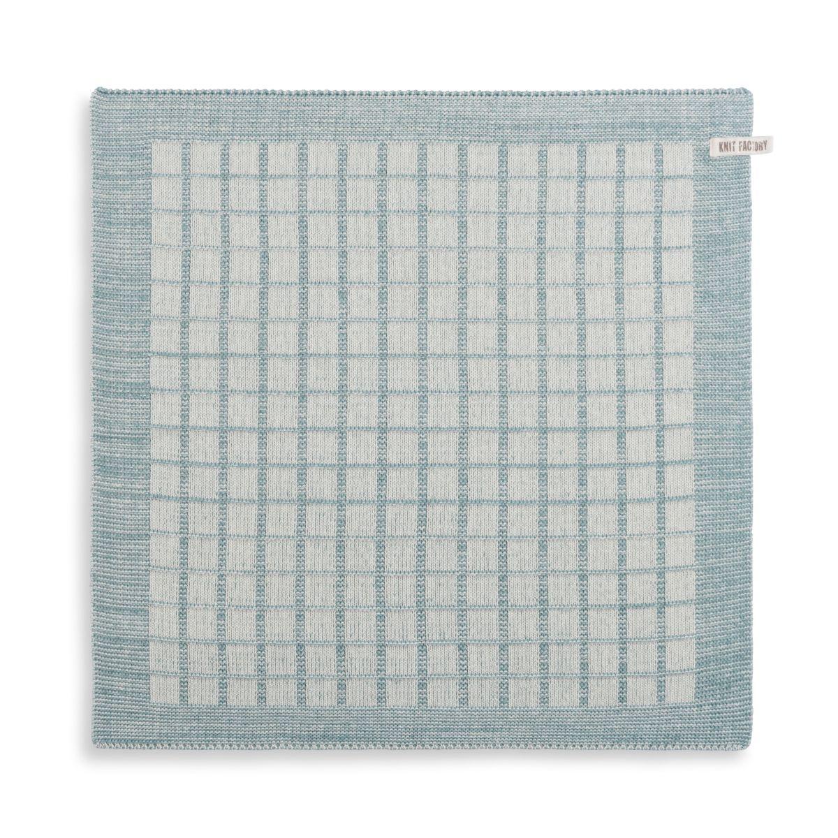 knit factory 2170076 keukendoek alice ecru stone green