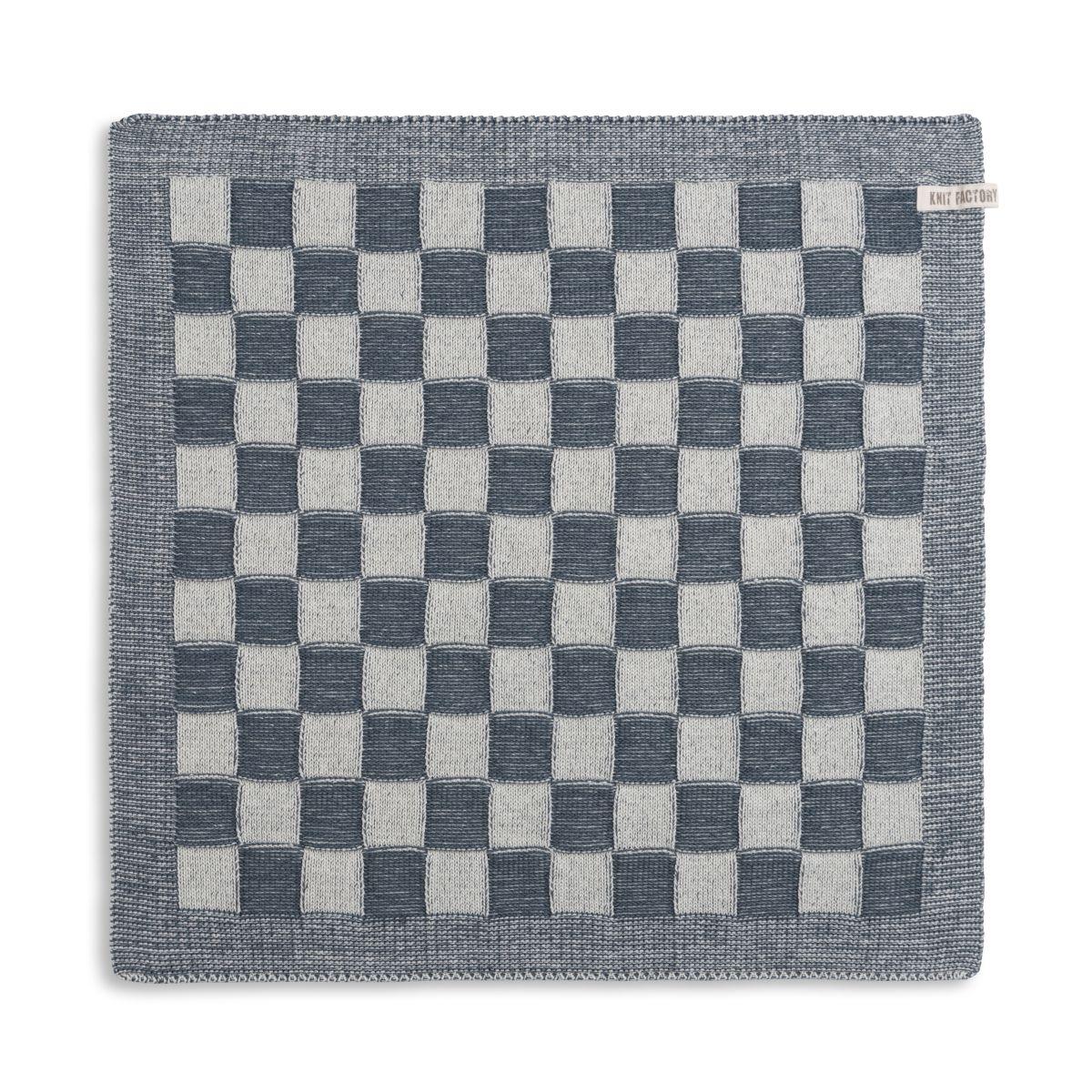 knit factory 2010082 keukendoek grote blok 2 kleuren ecru granit