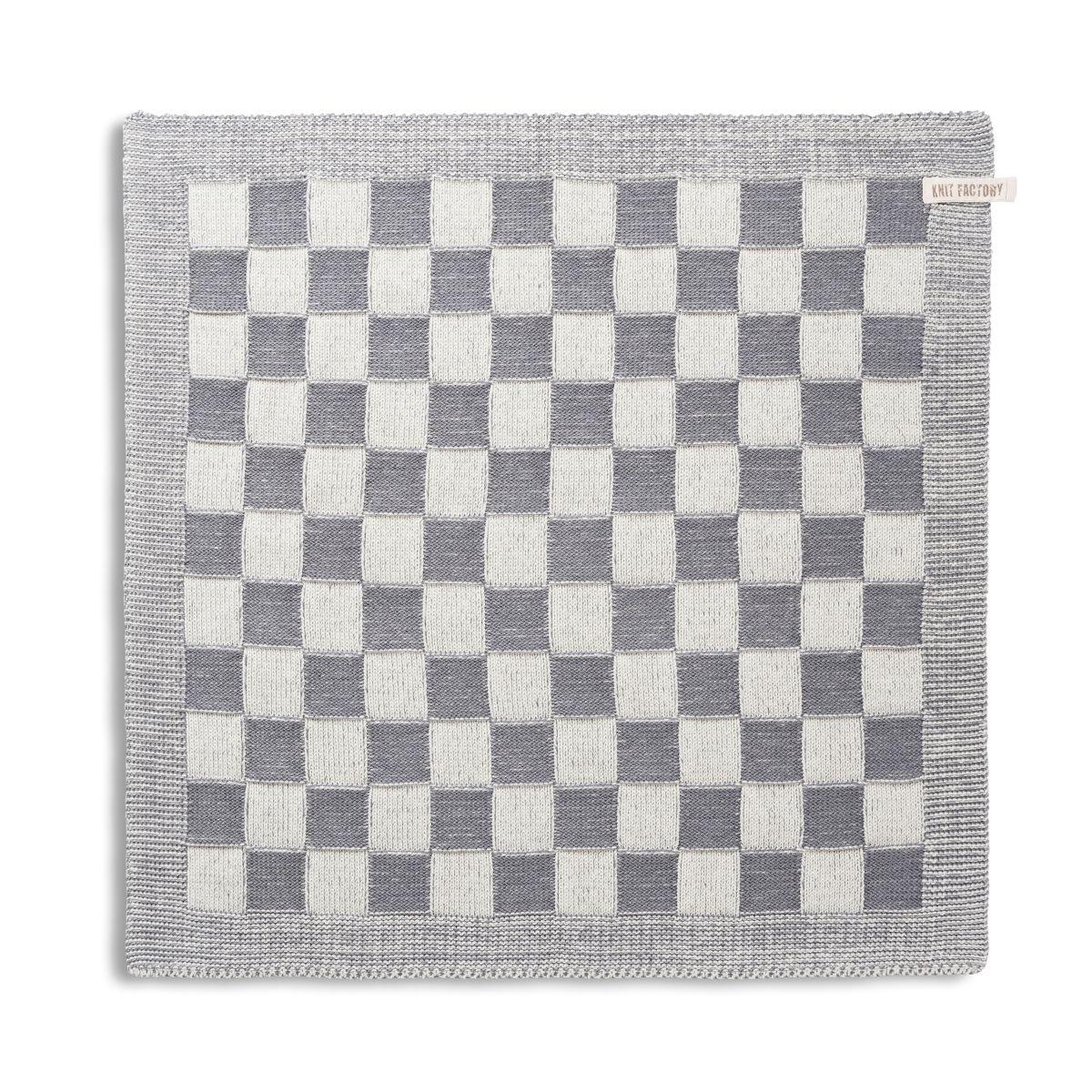 knit factory 2010079 keukendoek grote blok 2 kleuren ecru med grey