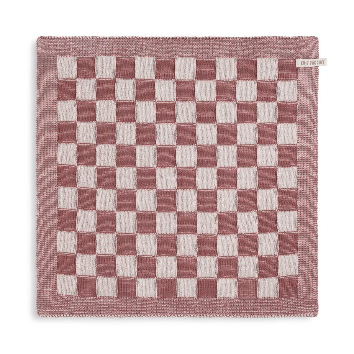 knit factory kf20120028850 keukendoek block ecru stone red 1
