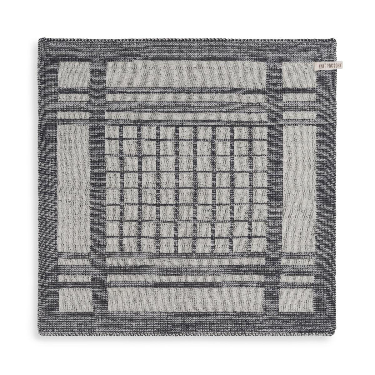 knit factory 2180070 keukendoek emma ecru antraciet 1