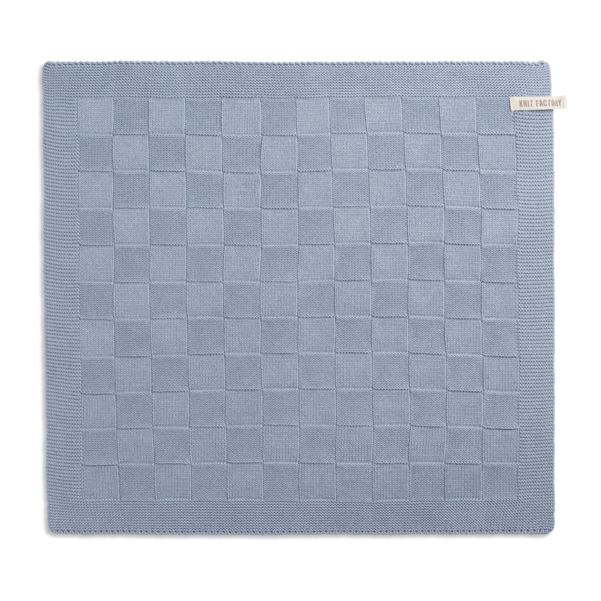 knit factory 2000011 keukendoek grote blok uni licht grijs