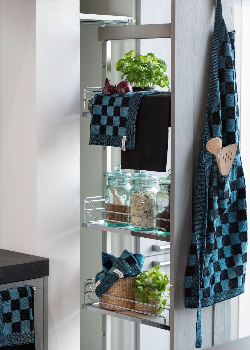 20104 knit factory keukenschort grote blok 2 kleuren zwart 4