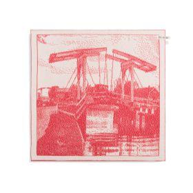 Kitchen Towel Bridge Ecru/Red