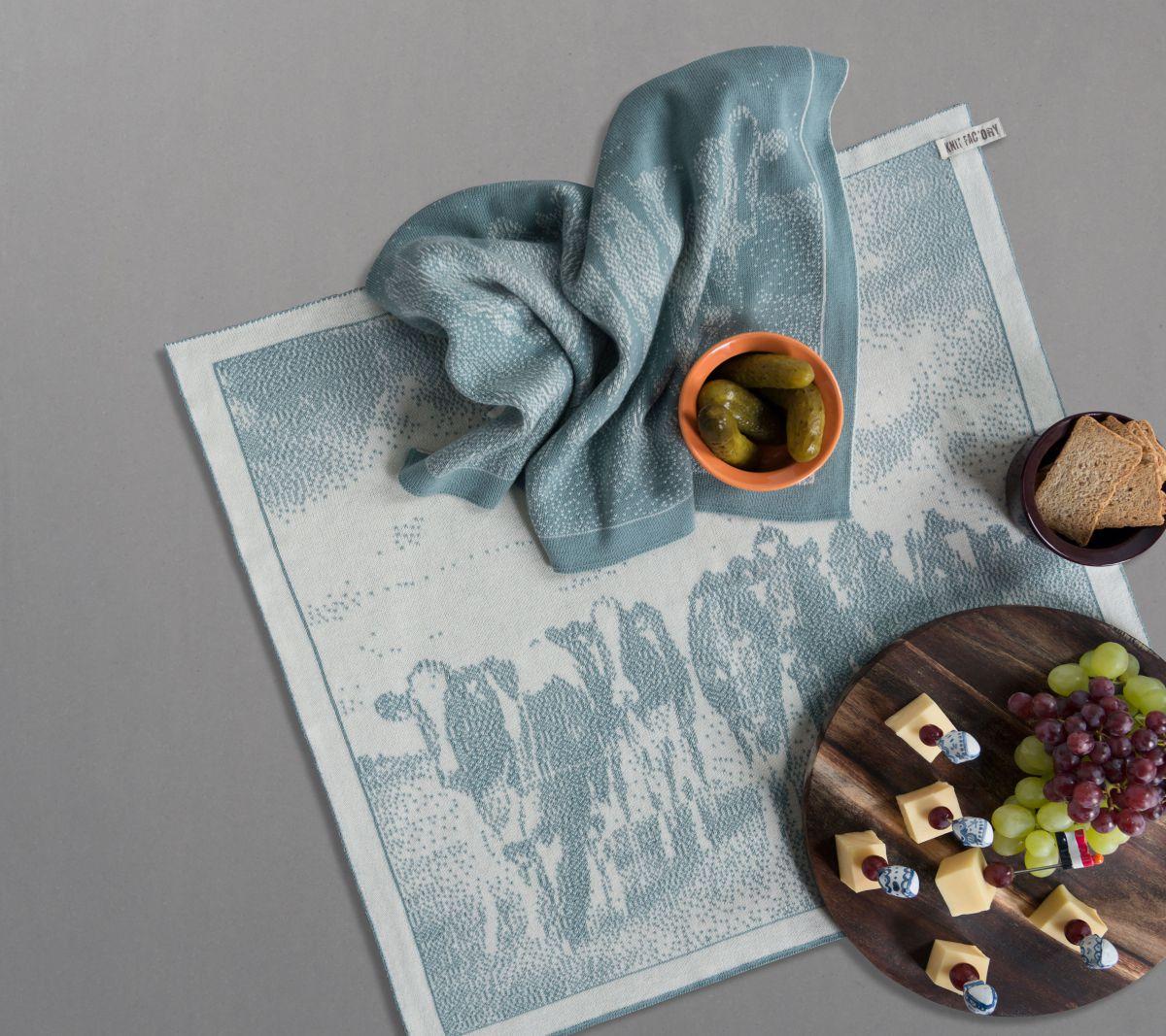 kitchen towel cows ecrulight grey