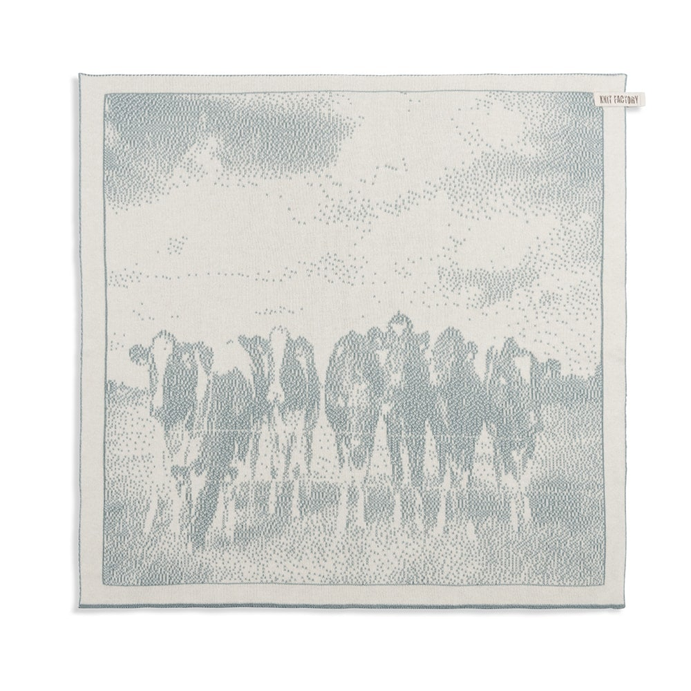 kitchen towel cows ecrustone green