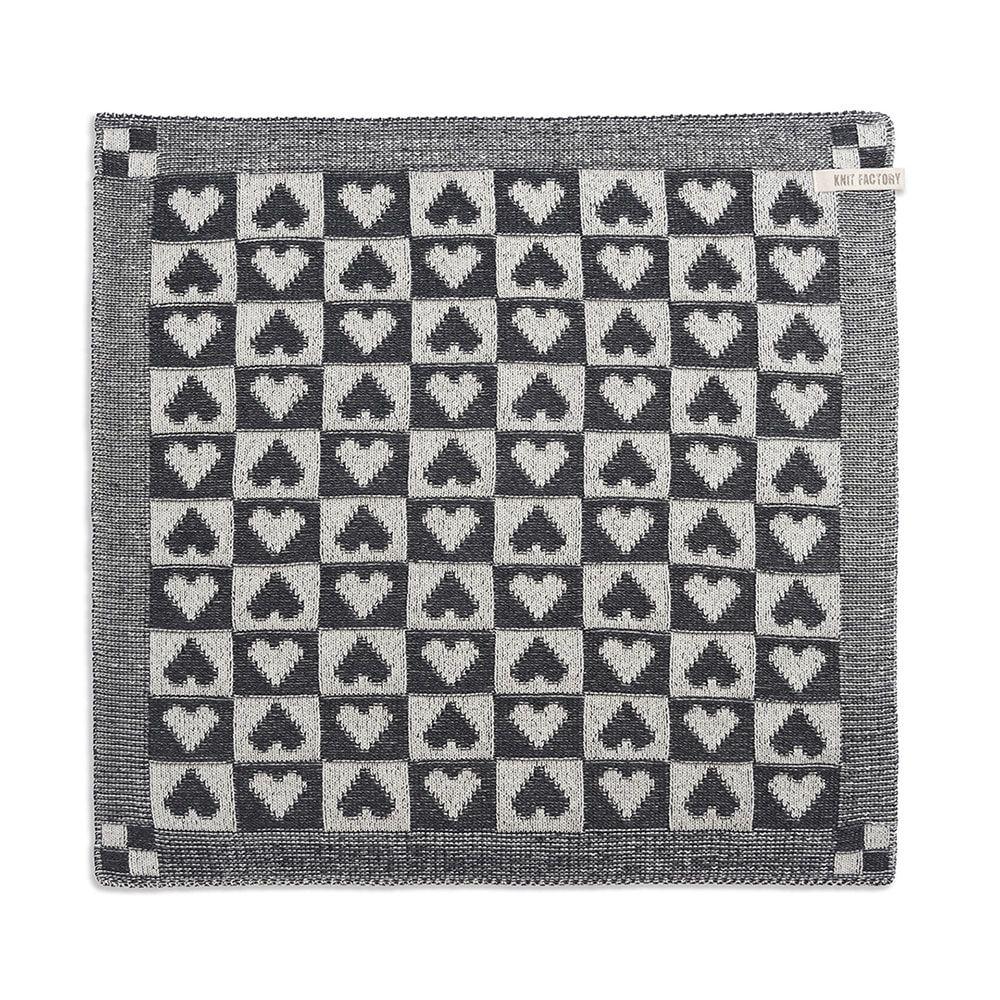 kitchen towel heart ecruanthracite