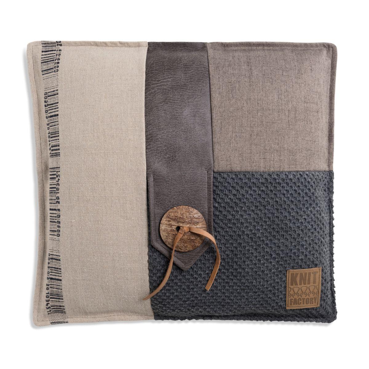 knit factory 1191210 kussen 50x50 lex antraciet 1
