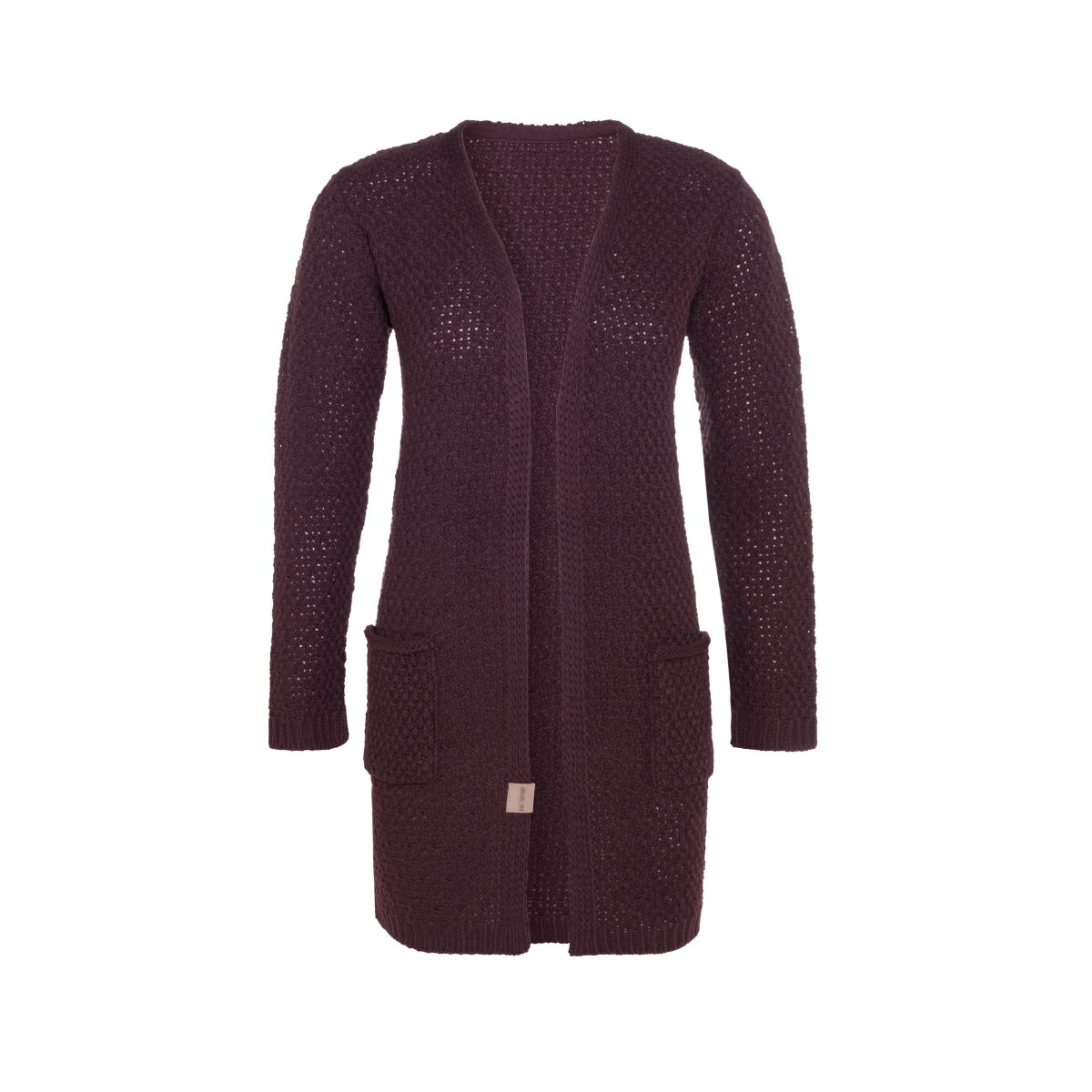 luna knitted cardigan aubergine 4042 with side pockets