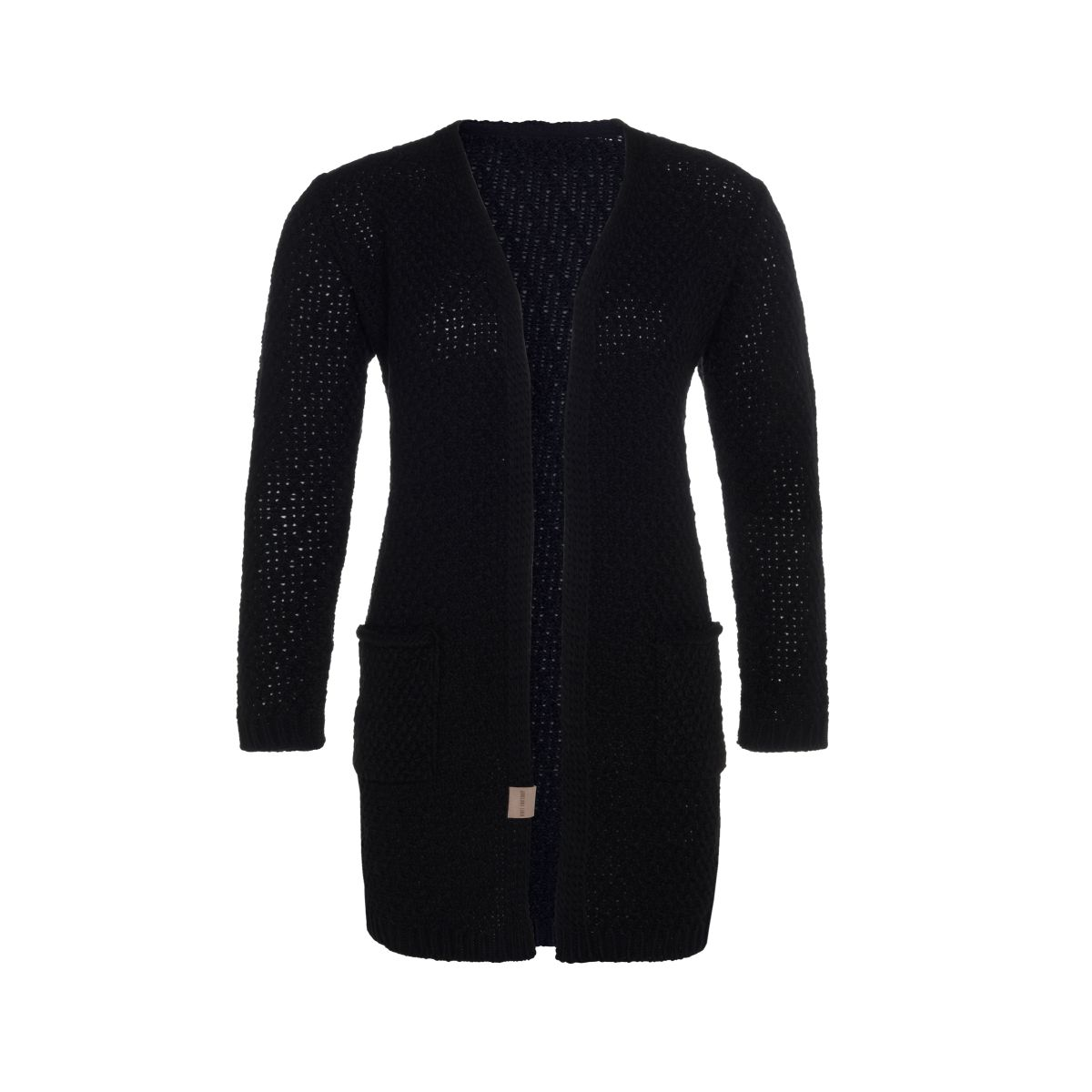 luna knitted cardigan black 3638 with side pockets