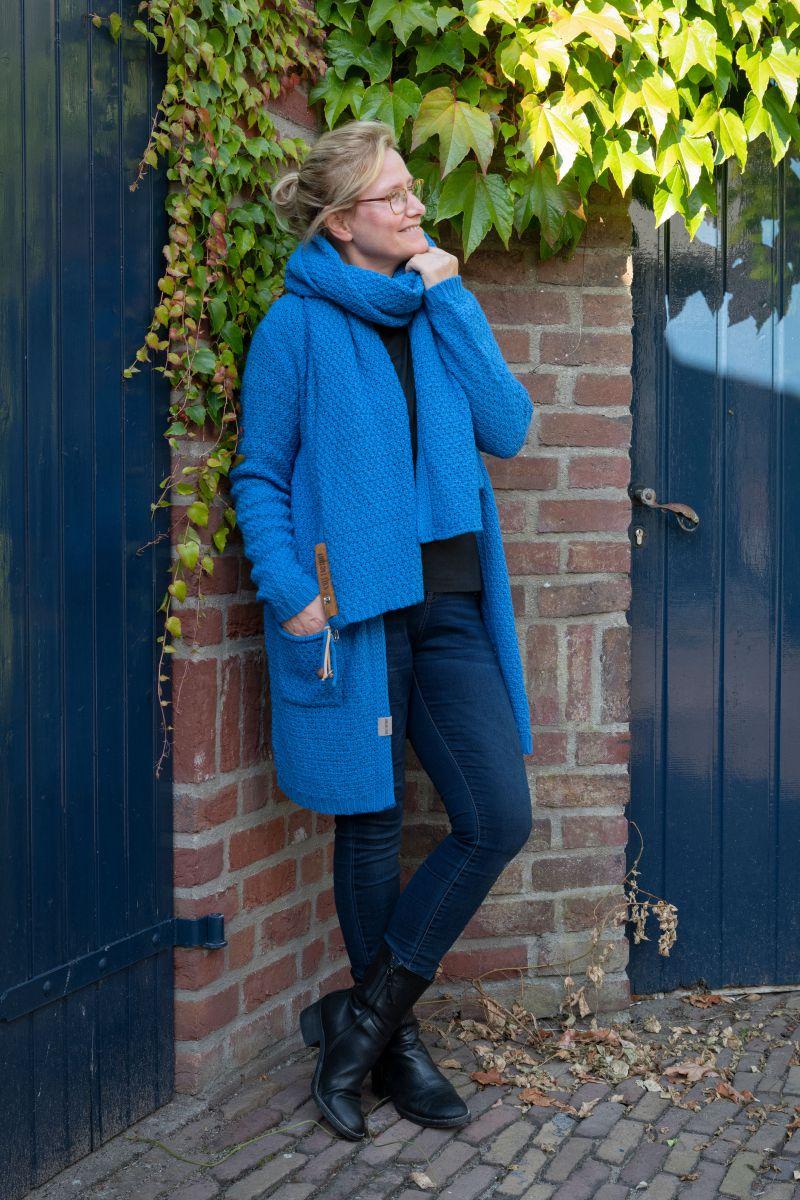 luna knitted cardigan cobalt 3638 with side pockets