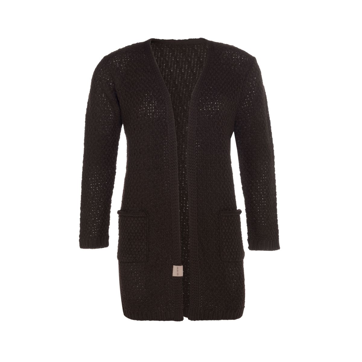 luna knitted cardigan dark brown 4042 with side pockets