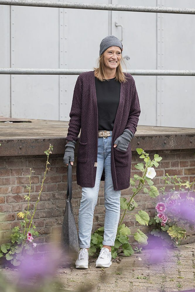 luna knitted cardigan jeans 4042 with side pockets