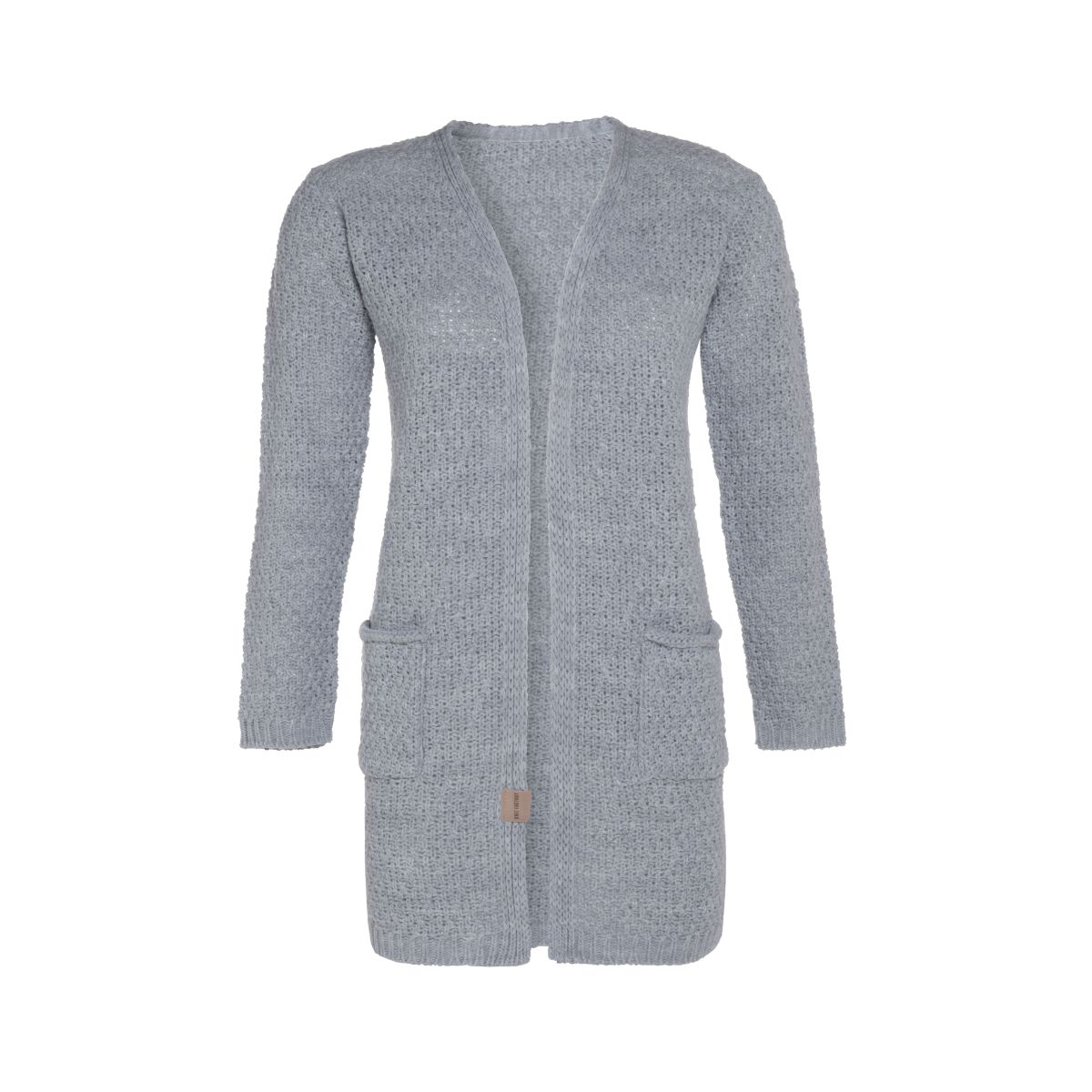 luna knitted cardigan light grey 3638 with side pockets