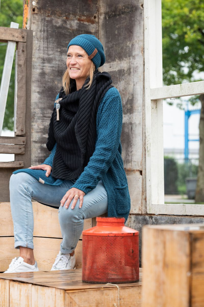 luna knitted cardigan light grey 4042 with side pockets