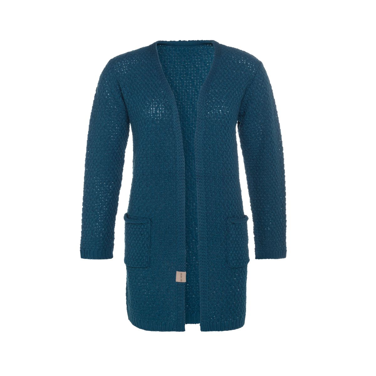 luna knitted cardigan petrol 3638 with side pockets