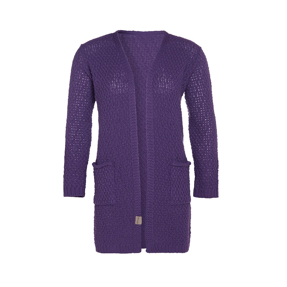luna knitted cardigan purple 3638 with side pockets