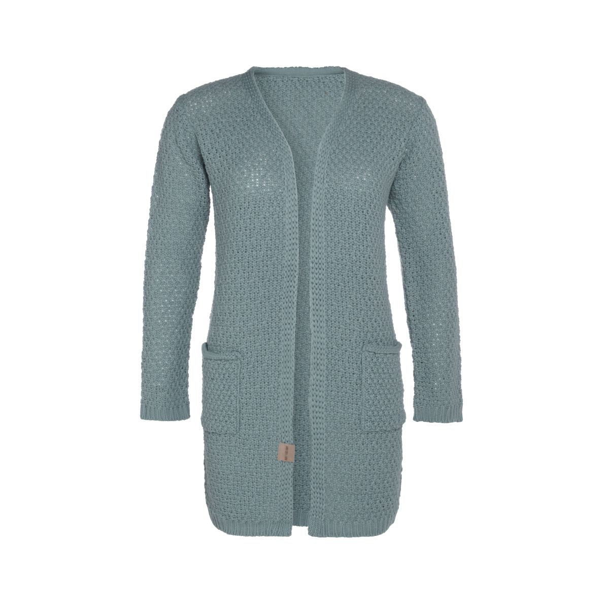 luna knitted cardigan stone green 3638 with side pockets