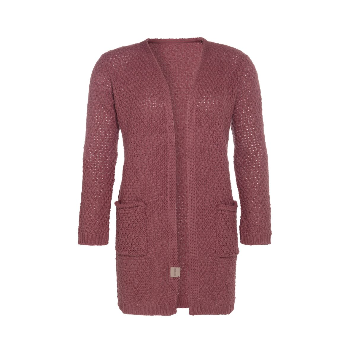 luna knitted cardigan stone red 3638 with side pockets