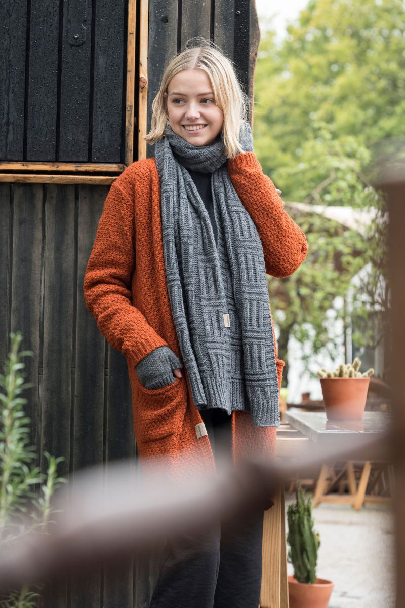 luna knitted cardigan terra 4042 with side pockets