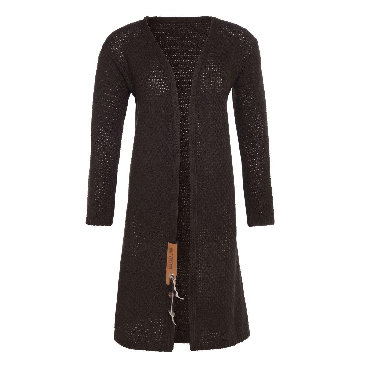 knit factory kf13308203751 luna lang vest donkerbruin 4042 1