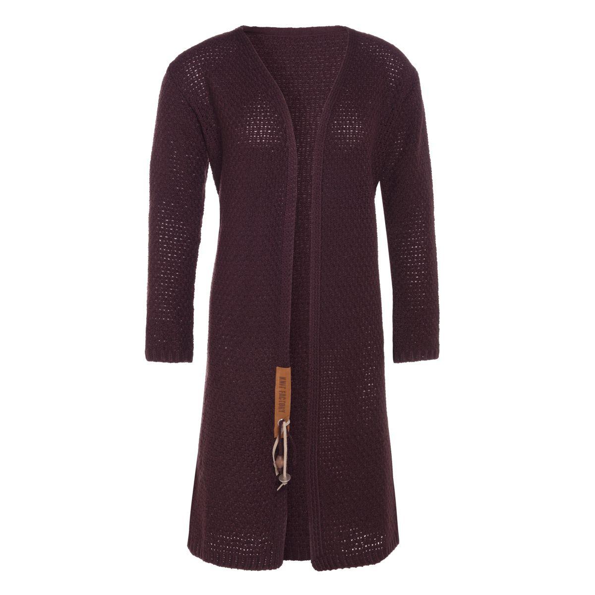 luna long knitted cardigan aubergine 5052