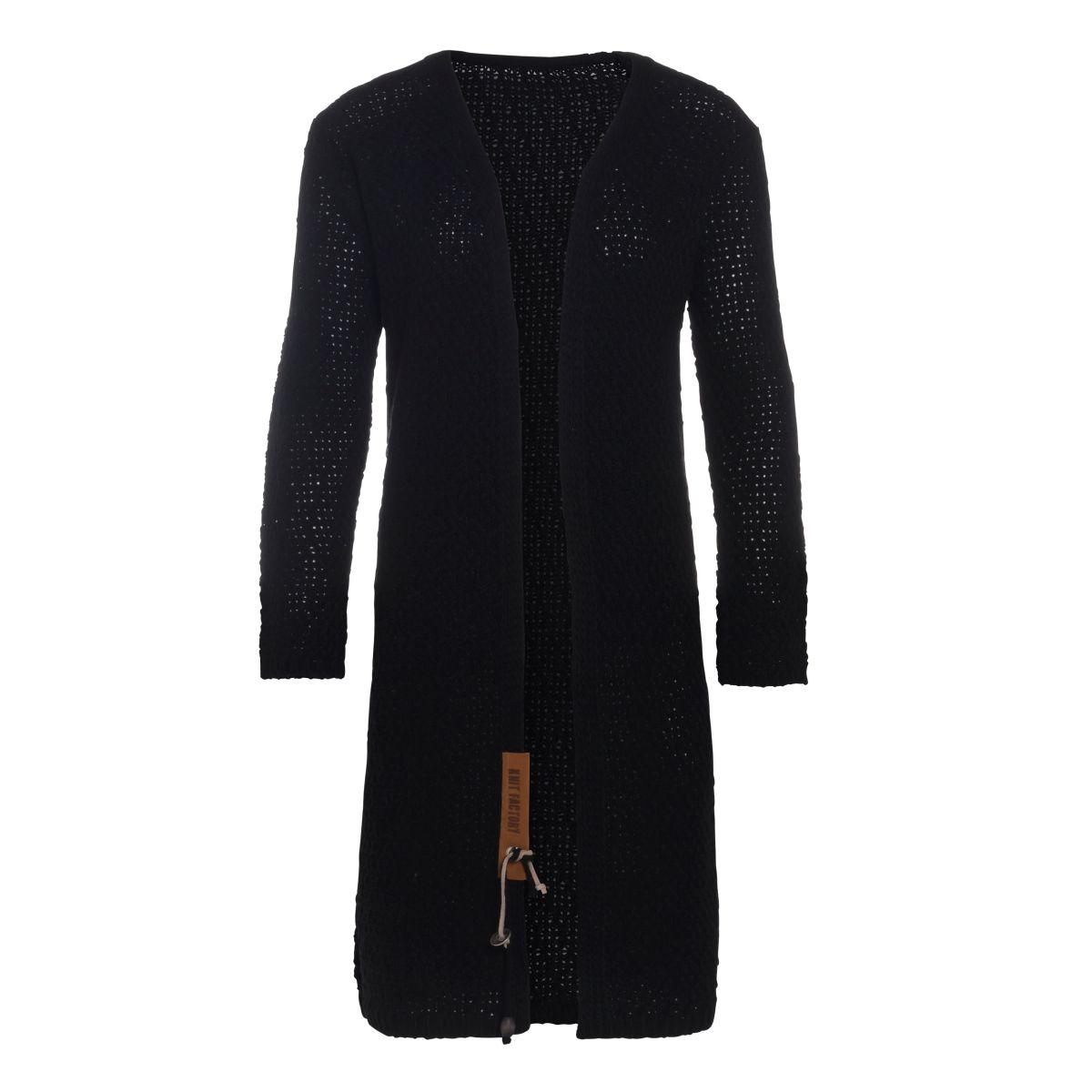 luna long knitted cardigan black 4648