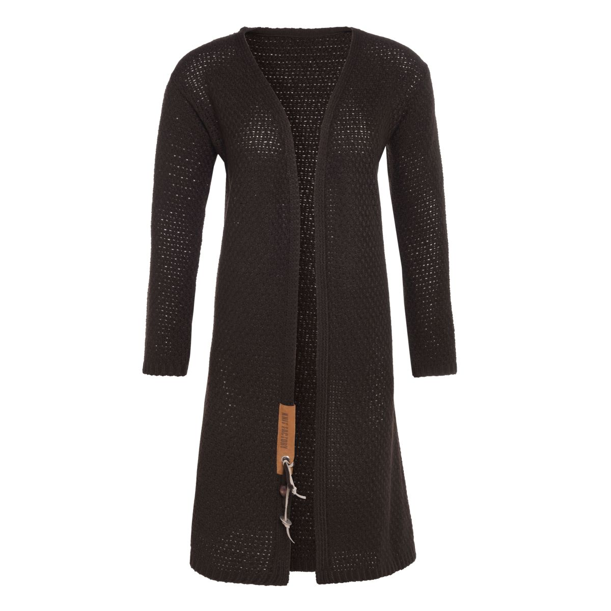 luna long knitted cardigan dark brown 4042