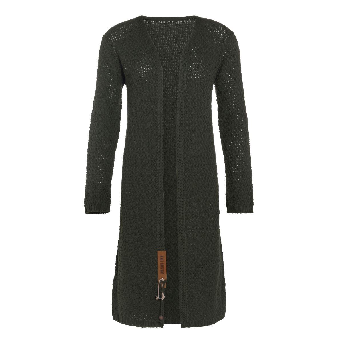 luna long knitted cardigan khaki 4042