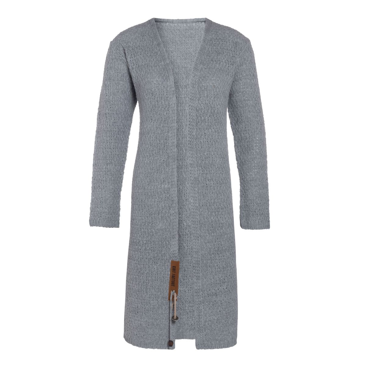 luna long knitted cardigan light grey 3638