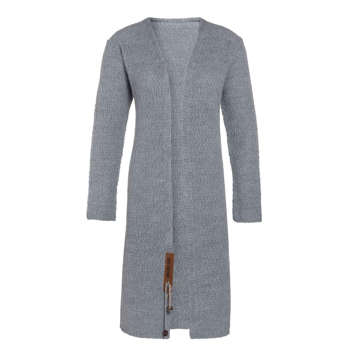 luna long knitted cardigan light grey 4042