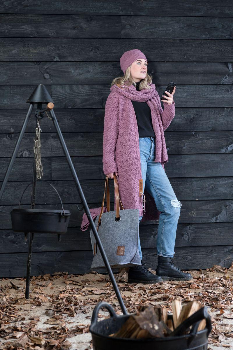 luna long knitted cardigan lilac 4042